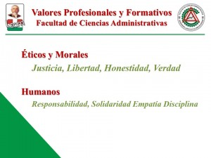 Valores de la Facultad de Ciencias Administrativas