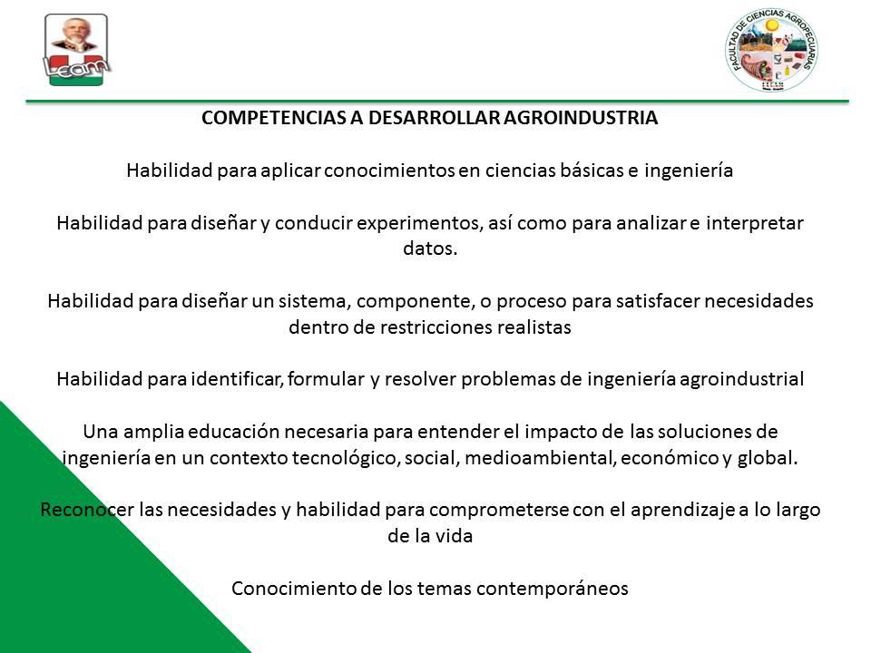 COMPETENCIAS A DESARROLLAR AGROINDUSTRIA