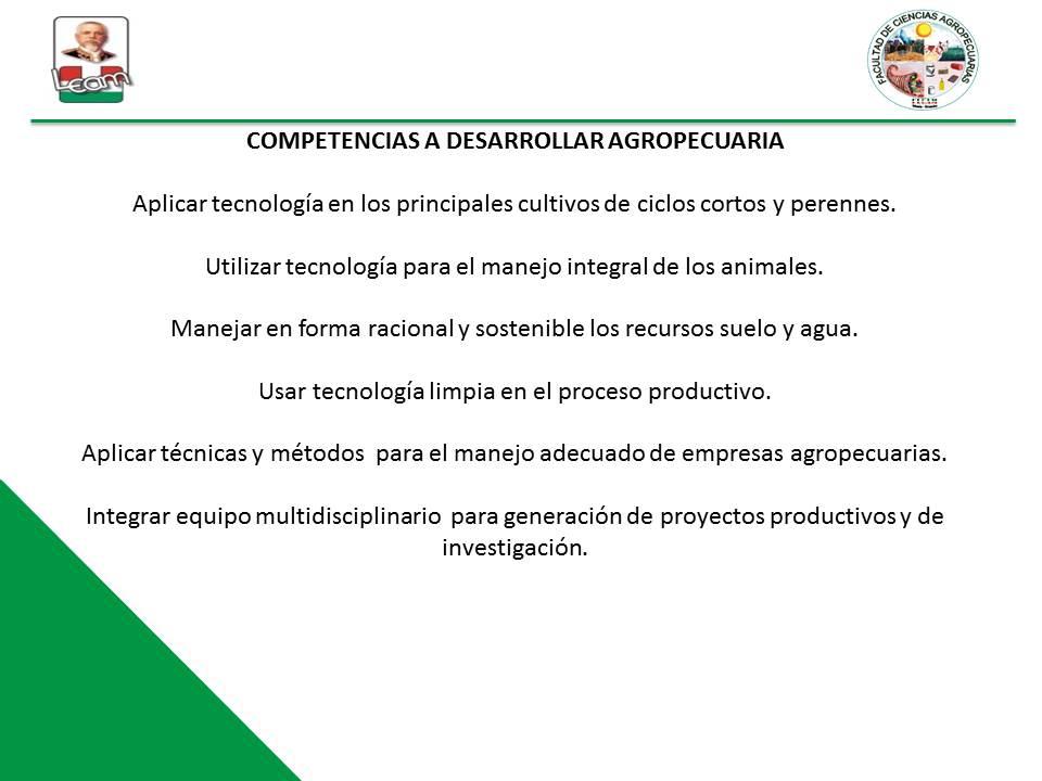 COMPETENCIAS A DESARROLLAR AGROPECUARIA