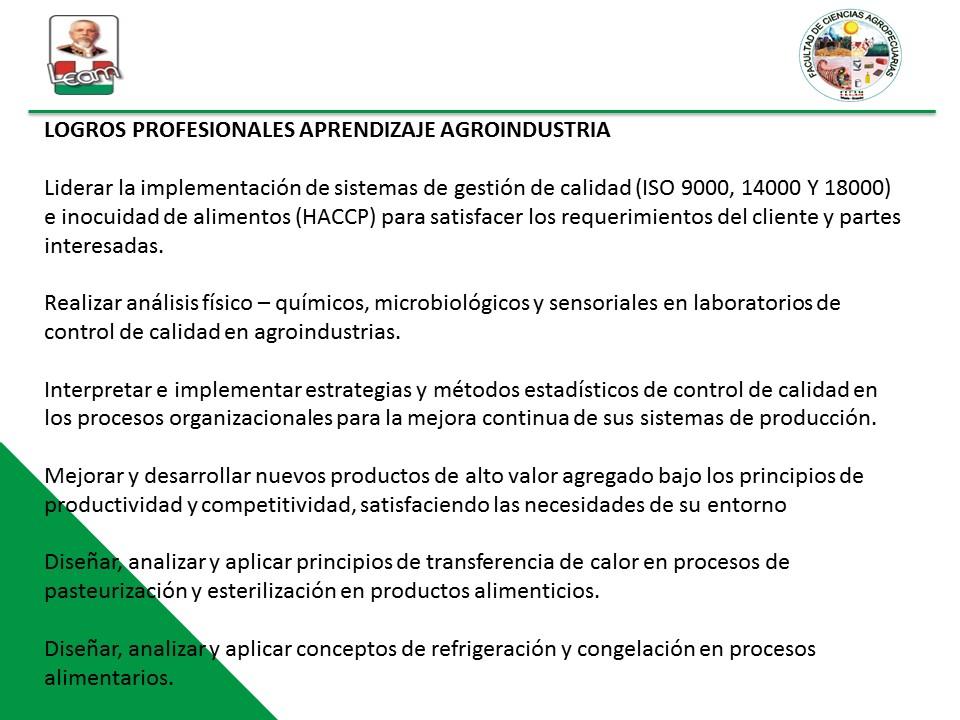 logros agroindustria