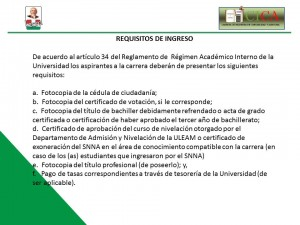 Plantilla requisitos para ingreso