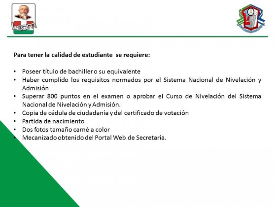 REQUISITOS A INGRESAR